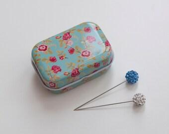 Hijab Pin Tin | 2 Crystal Hijab Pins | Vintage Inspired Pin Storage | Hijab Accessories