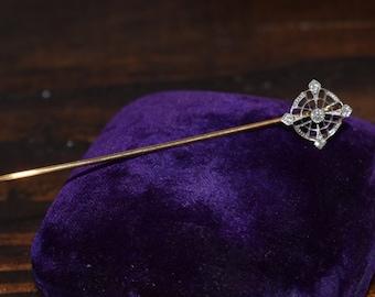 RARE Estate Vintage Art Deco 5 Diamond Stick Pin Gold 14k White and Yellow Gold Hat pin