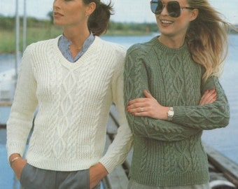 Womens Sweater Knitting Pattern : Ladies 32 34 36 38 40 and 42 inch bust - 81 86 91 97 102 and 107 cm - DK - Jumper - PDF Digital Download