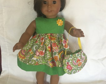 Dress to fit American Girl Doll 18 inch and purse included