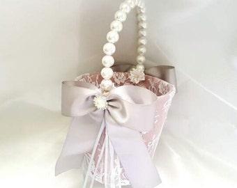 Flower girl basket, Gray and Pink basket , Flower girl basket Pink, Ivory Pearlhandle