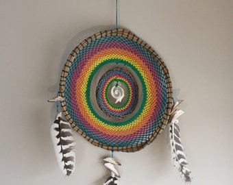 Rainbow Bliss, One of a Kind Hand Made Mayan Dream Catcher