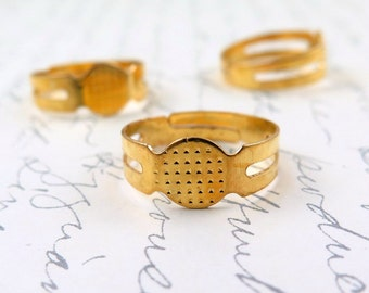 5pcs- Gold Brass Ring Blanks with Flat Pads Adjustable Ring Bases Findings