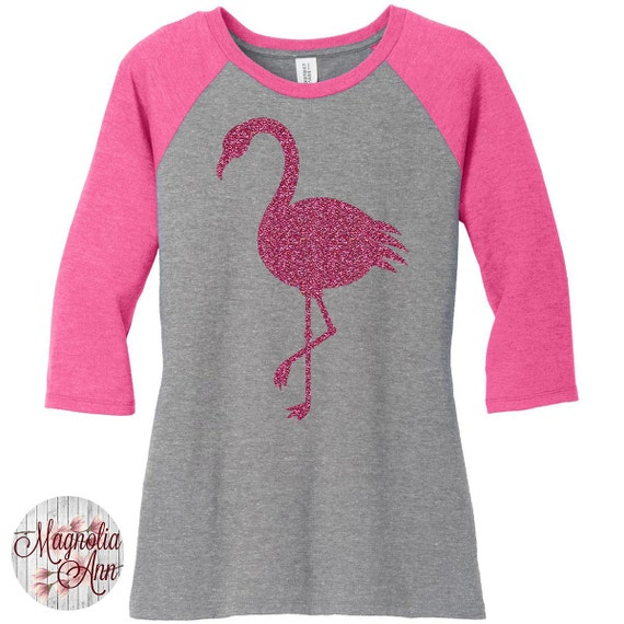 Pink Glitter Flamingo Baseball Raglan 2 Tone 3/4 Sleeve Womens Tops in Sizes Small-4X, Plus Size