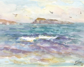 Sea watercolor, Seascape, Watercolor painting, Sea in watercolor, Islands, Watercolor Impressionism, Small painting