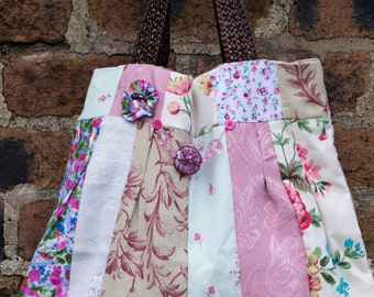 Gorgeous Patchwork tote bag in pretty pastel pinks, purples and greens with bead/ flower embellishments to front of bag