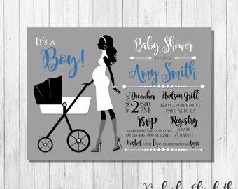 It's a Boy Blue Black White Baby Shower Invitation, Pregnant Silhouette with Stroller Invitation, *DIGITAL FILE*
