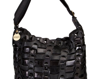Braided Handmade Leather Shoulder Bag in BlackFrom Octopus Denmark