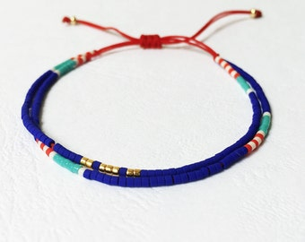 Multicolor bracelet - Cobalt Turquoise red and gold