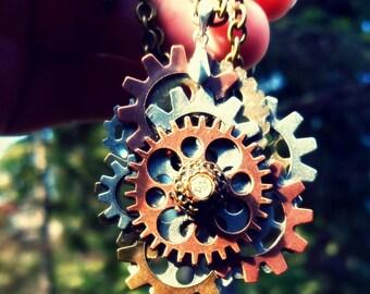 Golden Steampunk Gear Pendant