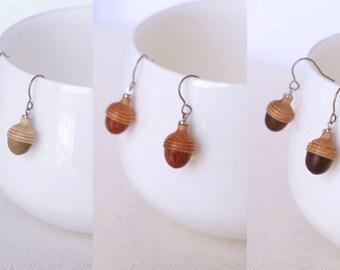 Wooden Acorn Earring (PEA)