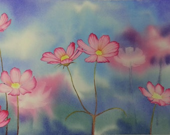 Pink Daisies watercolor