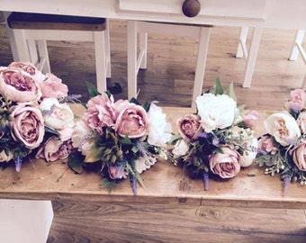 Vintage Pink bridal wedding bouquet, dusky pink peonies, roses & lavender, artificial / silk / keepsake bouquet
