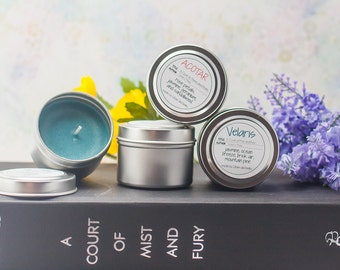 A Court of Mist and Fury Travel Tin Four Pack - Book Candle - Book Gift - Book Lover - Bookish - Book Inspired Candle - Mini Candles