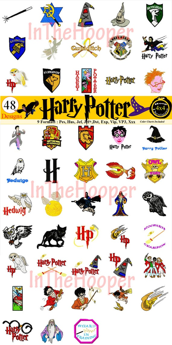 Harry potter machine embroidery designs pes hus jef by
