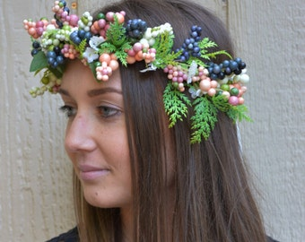 Berry mix head crown, handmade head wreath, head crown