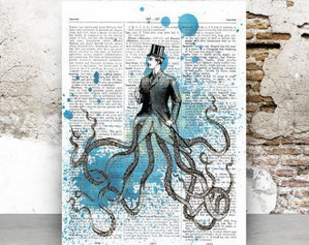 Dictionary page Octopus, victorian man, 5x7 & 8.5 x 11 in, print at home, digital download, vintage, dictionary page, gothic, art, steampunk