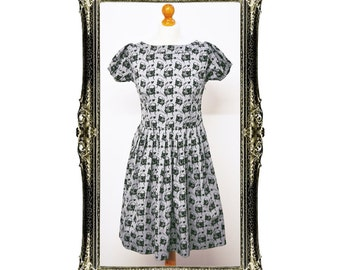 Vintage Inspired Retro Pug Print Tea Dress