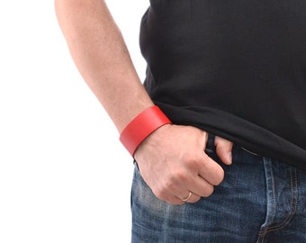 Mens Leather Bracelet / Red Leather Bracelet For Men, Leather Cuff Bracelet / Leather Band Bracelet, Mens Bracelet, Leather Wristband