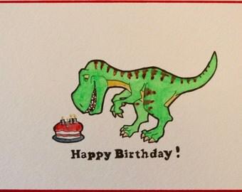 Trex Birthday Card, Dinosaur Birthday Card, Trex watercolor, Original Art Trex, Trex and Birthday Cake Card, Dinosaur Happy Birthday