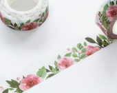 Red Camellia Floral Washi Tape 15mm/ Tea Rose Washi Tape/ Red Rose Washi Tape/ Masking Tape