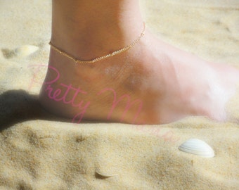 Gold Anklet, Beach Jewelry, Foot Jewelry, Ankle Bracelet, Ball chain, Tiny Anklet, Delicate And Simple Anklet, Chain Anklet, ATOP21