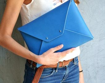 Blue leather clutch bag / Envelope clutch / Navy blue leather bag / Leather iPad case / Genuine leather / Leather bag