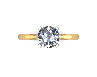 Solitaire Moissanite Engagement Ring in 9 Carat Yellow Gold