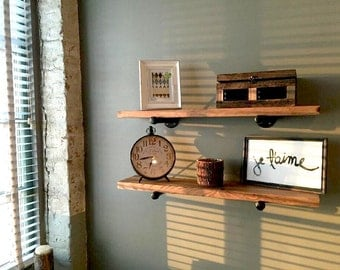 Wood Floating Shelves, Kitchen Pipe Floating Shelf, Industrial Kitchen Shelving, Rustic Wall Storage and Organization, Farmhouse Chic