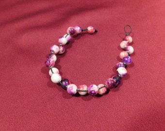 Pink and Purple Watercolor Beaded Bracelet