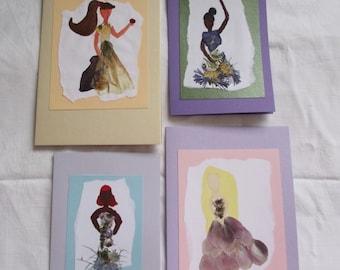Real Pressed Flower Princess Cards- Real pressed flowers, blank cards, princess
