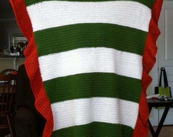 Handmade crochet striped afghan