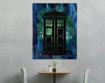 Dr Who Art, Tardis Art, Melted Crayon Art, Abstract Art, Dr Who, Tardis, Crayon Art, Canvas Art, Silhouette Art