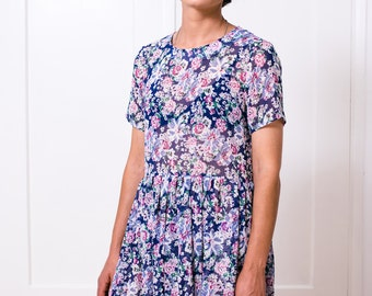 Flower print shiffon loose dress with short sleeves and round neck