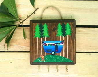 Boho Decor / Gift Women / Camping Decor / Key Holder / Key Hook / Key Rack / Jewelry Display / Necklace Holder / Camping Signs / Wood Signs