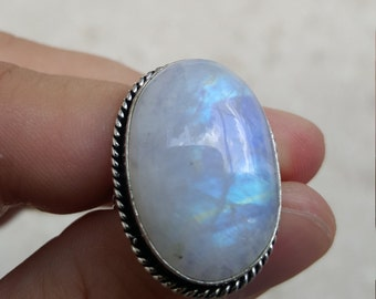 Rainbow Moonstone Ring Size 9 1/12 .925 Silver