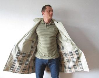 Beige Trenchcoat Gray Men's Trench coat Classic Raincoat Plaid lining Trench Gentlemen's Overcoat Preppy Westbury Trenchcoat Large Size