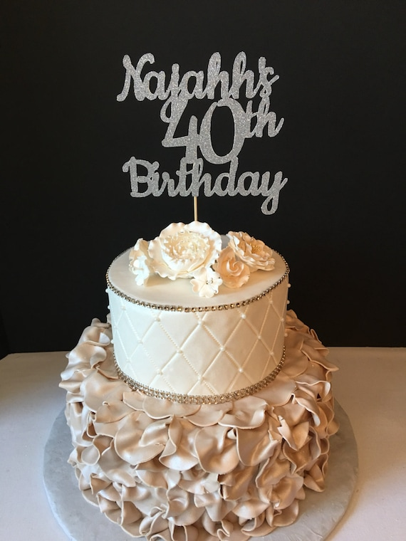 ANY NAME NUMBER Glitter 40th Birthday Cake Topper 40 and