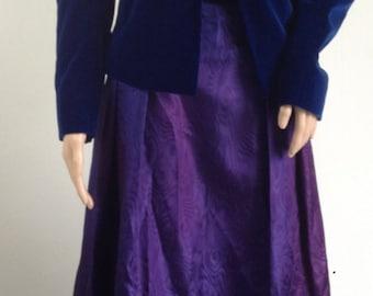 Vintage ANNIE GOUGH blue  purple velvet braid dress & jacket UK 12/14 prom party