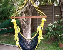 Yellow and blue chair swing hammock