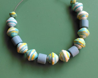 Paper and wood necklace