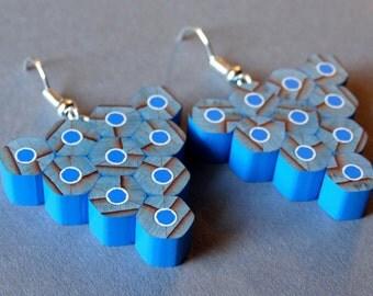 Pencil earrings, handmade jewelry, blue triangle earrings