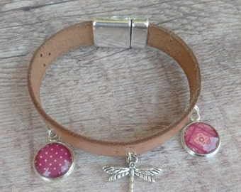Dragonfly leather bracelet