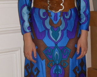 1970s Psychedelic Hippie Maxi Dress