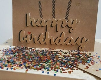 Happy Birthday Glitter Bomb Card w. Envelope (Unassembled)