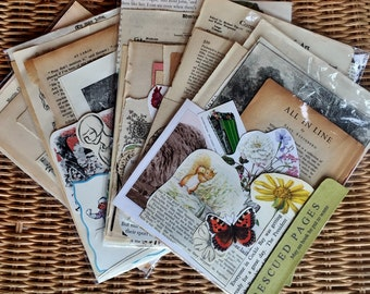 Rescued Pages - size 2 - Scrapbook/Craft Packages made from recycled book pages