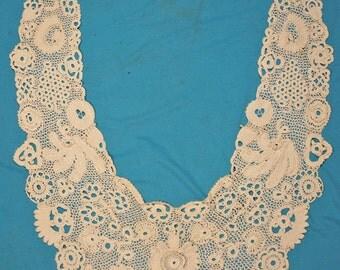 Antique Lace Collar IRISH CROCHET Large Wearable Handmade Fashion Collar