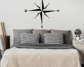 Compass Rose Removable Wall Decal Nautical Beach Decor- Travel Wall Decal Compass Rose Bedroom Decor-Nautical Wall Decal Sailing Decor #67