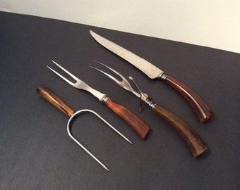 Vintage meat carving set, 2 forks, knife & meat spear -- resin handles