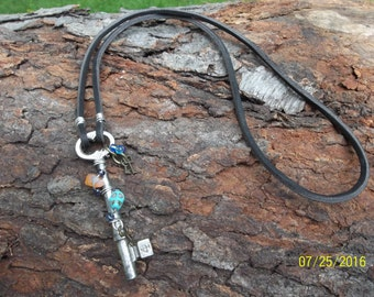 The Skull and The Skeleton Key Necklace, Antique Skeleton Key #4, NOT A REPRODUCTION skeleton key